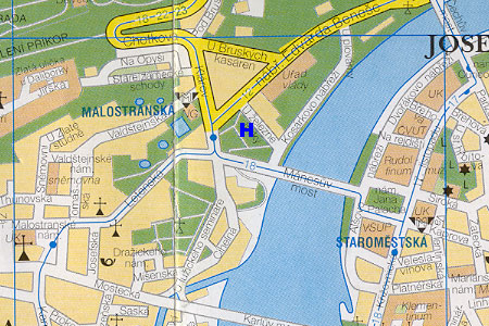 prague map with hotel Residence Trinidad location